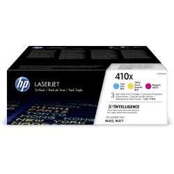 HP 410XLaserJet, lot de 3 cartouches de toner grande capacité authentiques, cyan/magenta/jaune - 1
