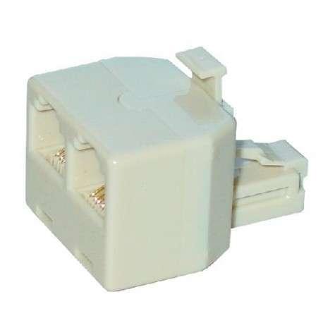 MCL RJ-12F/M/F adaptateur et connecteur de câbles RJ12 2 x RJ12 Blanc - 1